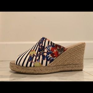 Desigual wedge sandal floral and stripe